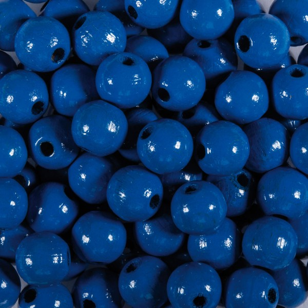 Holzperlen 10mm 50 St. blau Lochgröße ca. 2mm