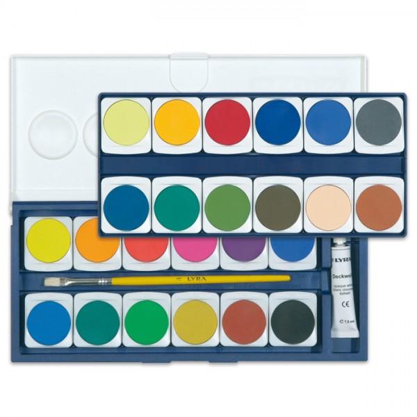 Lyra Malkasten 24 Wasserfarben Farben Ø 30mm, Deckweiß 7,5ml, Pinsel