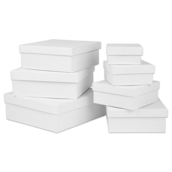 Geschenkboxen Karton 7-teilig Quadrat weiß 9x9x4,5cm bis 21x21x7,5cm