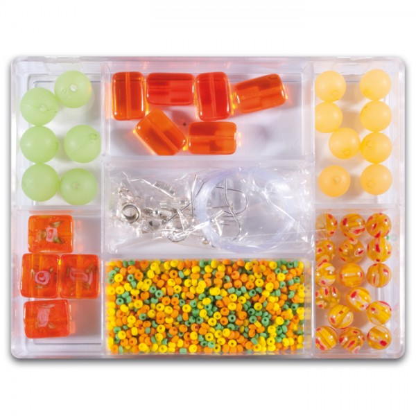 Glasperlen-Mix ca. 7-15mm ca. 70g gelb Box 7 Fächer, inkl. Zubehör, Lochgr. ca. 0,7-1mm