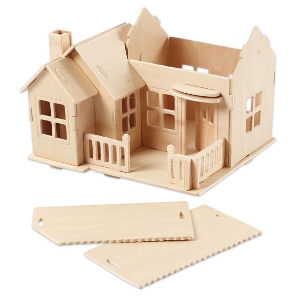 Holzbausatz Haus mit Terrasse 27 Teile ca. 19x17,5x15cm, vorgestanzt, zum Zusammenstecken