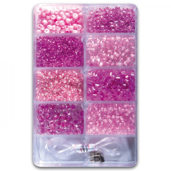 Glasperlen Rocailles/Stiftperlen ca. 30g rosaton 2,5-6mm, Glas, Zubehör, Lochgr. ca. 0,7-1mm
