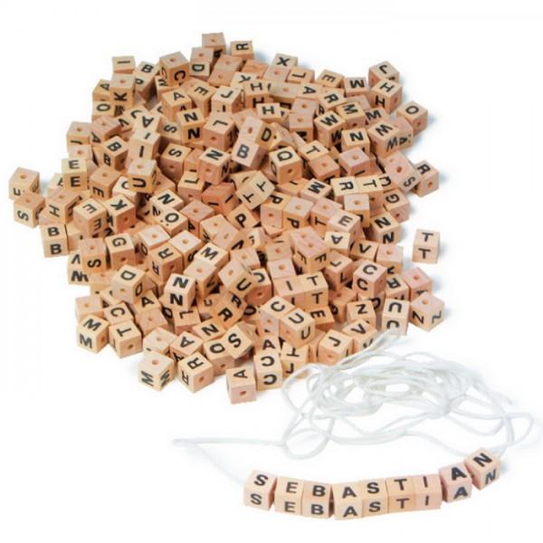 Buchstabenperlen Würfel Holz ca. 7mm 300 St natur mit Band, Lochgr. ca. 2mm