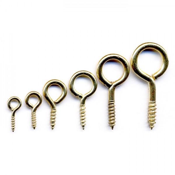 Schraubösen geschlossen 10-24mm 60 St. vermessingt Metall, 6 Größen