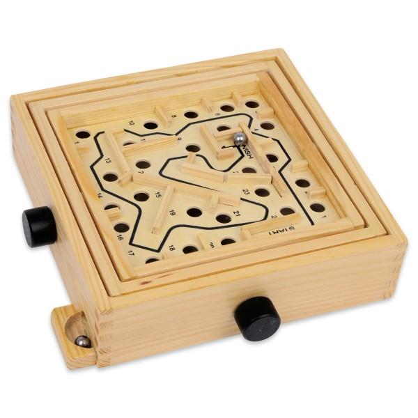 Spiel - Labyrinth Holz 22x21x5,5cm natur inkl. 2 Metallkugeln, ab 5 Jahren