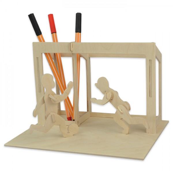 Holzbausatz Tischständer Fußball ca.18x14,5x12,5cm 22 Teile, vorgestanzt, zum Zusammenstecken