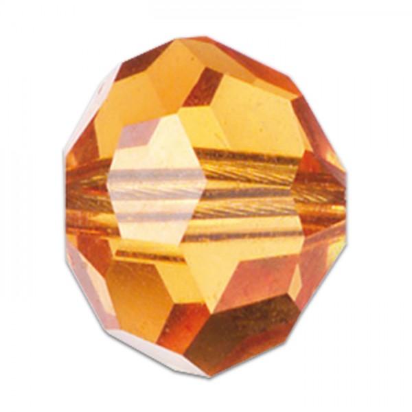 Facettenschliffperlen 6mm 30 St. topaz transparent, feuerpoliert, Glas, Lochgr. ca. 1mm
