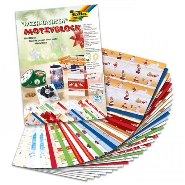 Motivblock 24x34cm 30 Bl. Weihnachten II je 10 Bl./Motive in 270g/m², 115g/m², 130g/m²