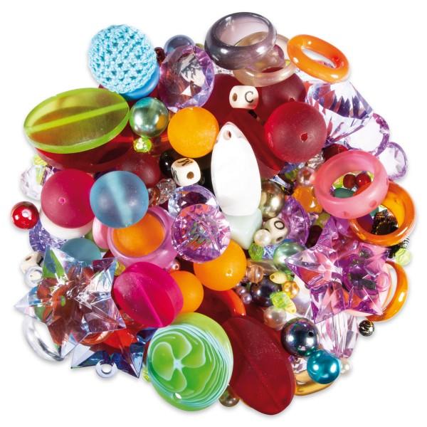 Fancy Perlenmix Kunststoff ca. 2-40mm 1.200ml bunt Lochgröße ca. 0,5-4mm