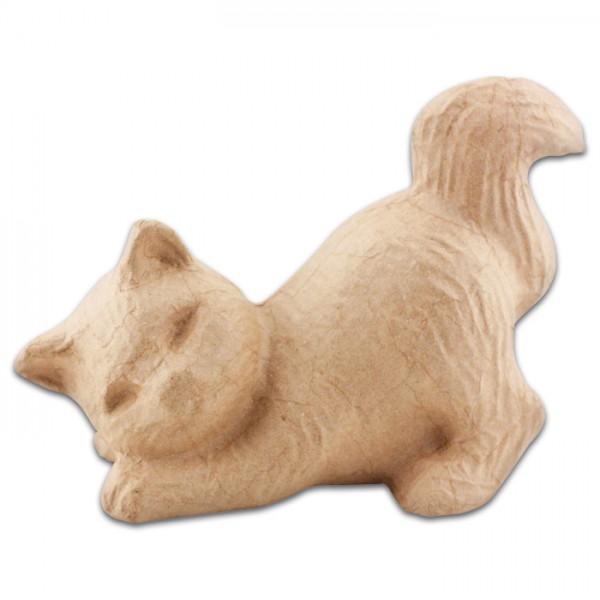 Katze schnurrend Pappmaché 20x10,5x15cm Größe S, von Décopatch