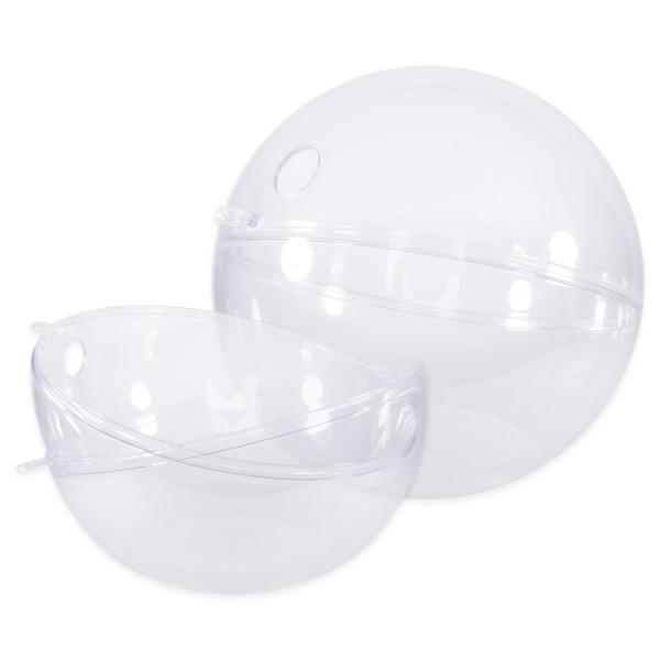 Plastikkugel mit Loch glasklar Ø 200mm 2 Halbschalen zum Zusammenstecken