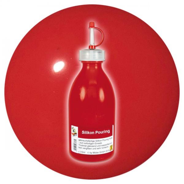 Just4Art Silikon Pouring Farbe 250ml cadmiumrot mit Spritzdüse