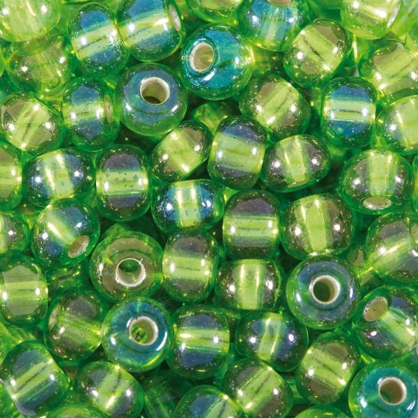 Rocailles Silbereinzug AB 4,5mm 17g grün Glas, Lochgr. ca. 1mm