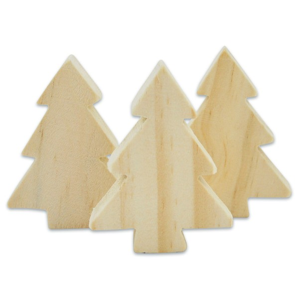 Tannenbäume Holz 4x5,5x1,5cm 3 St. natur