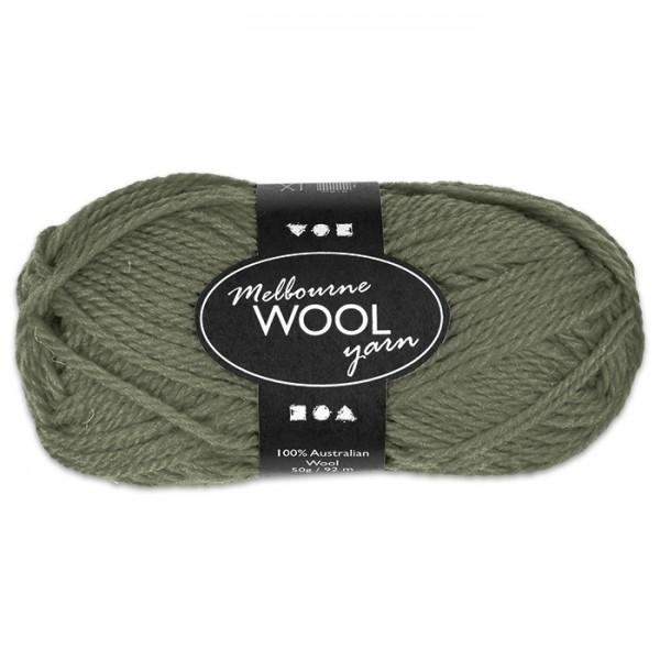 Garn Melbourne Filzwolle 50g dunkelgrün 100% Wolle, LL 92m, Nadel Nr. 4