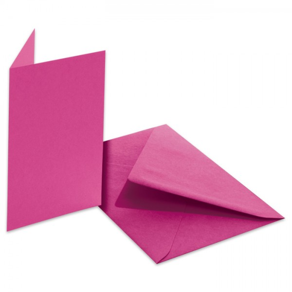 Doppelkarten 220g/m² 10,5x15cm 5 St. pink inkl. Kuvert&Einlegeblatt
