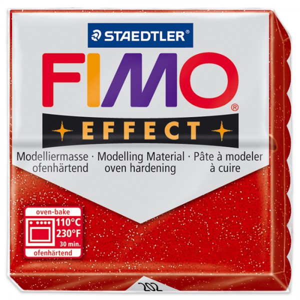 FIMO effect 55x55x15mm 57g glitter rot ofenhärtende Modelliermasse