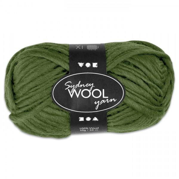 Garn Sydney Filzwolle 50g grün 100% Wolle, LL 50m, Nadel Nr. 8