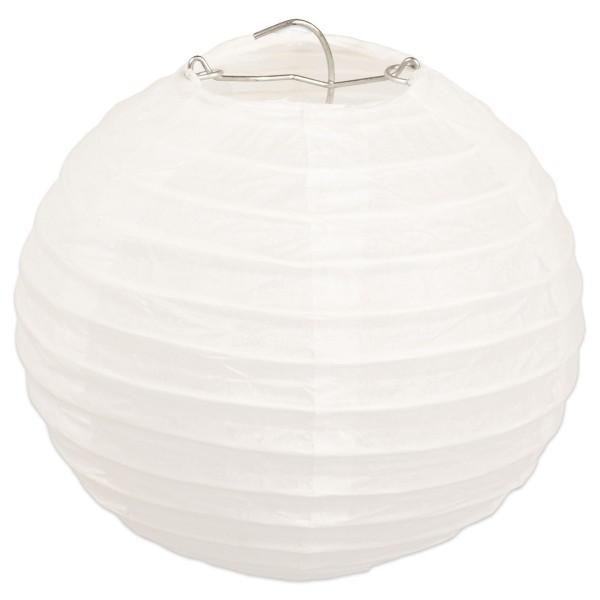 Papierlampions rund Ø 13cm 6 St. weiß mit Aufhängeöse, Metall