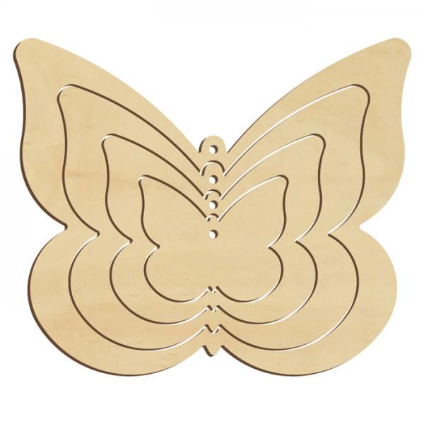 Mobile Schmetterling Holz 3mm ca. 12,5x10,5cm 4-teilig, natur