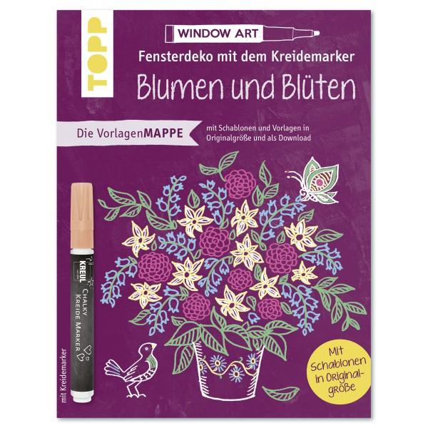 Vorlagenmappe Folien Fensterbilder Blumen & Blüten mit Kreidemarker, 8 Seiten, 16,8x22,1cm, Softcove