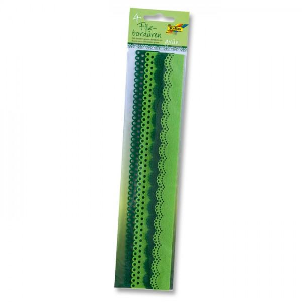 Filzbordüren 2 Designs 4 St. à 30cm grün 25/30mm breit, 100% Polyester