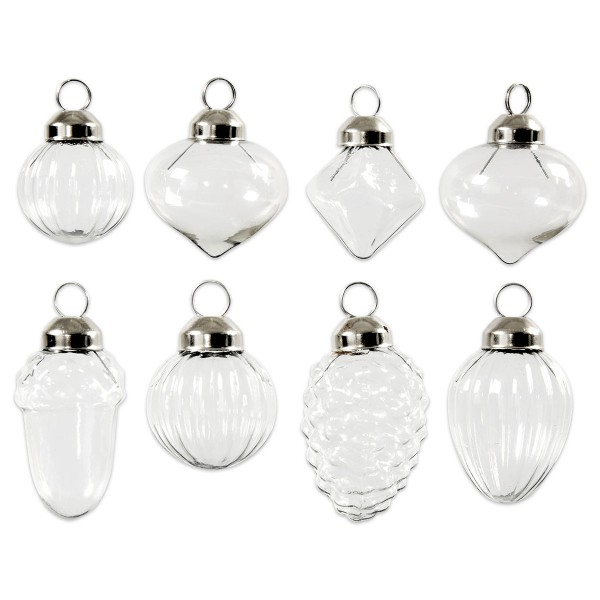 Glas-Ornamente Ø 28-30mm 35-51mm hoch 8 St. Klarglas/Metall silberfarben