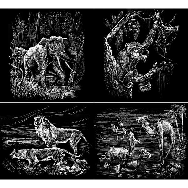 Kratzbilder-Set silber afrikanische Wildtiere 4 St. à ca. 10,5x15cm