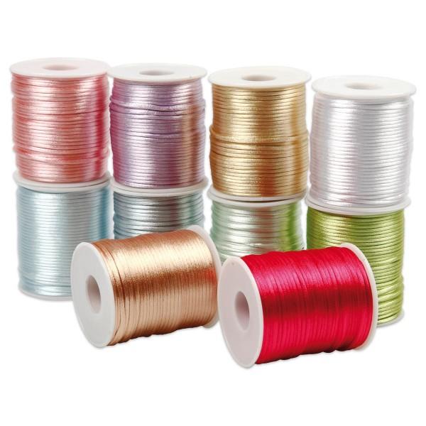 Satinkordel-Sortiment 10 Farben à 50m Pastellfarben glänzend Ø 2mm, 100% Polyester