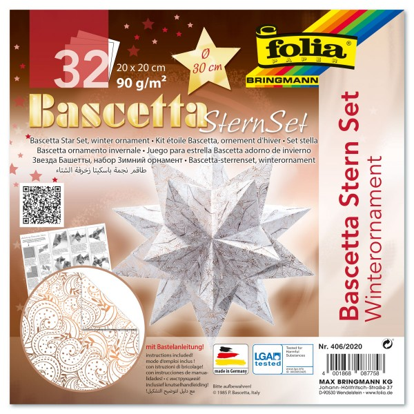Bascetta-Stern ca. Ø 30cm 32 Bl. weiß/kupfer Winterornament 20x20cm, Transparentpapier, 90g/m²