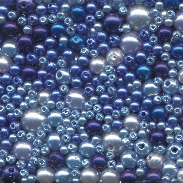 Wachsperlen-Mix 3-10mm 60g ca. 850 St. blauton Kunststoff, Lochgr. ca. 0,7-1,5mm