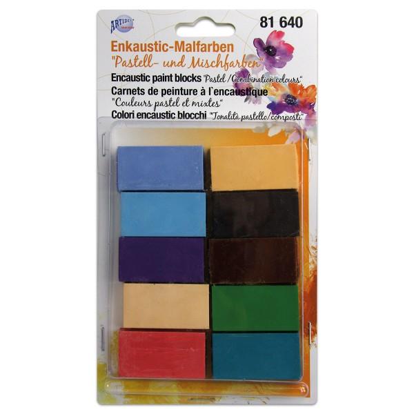 Enkaustic-Malblöcke-Set 10 St. Pastell- & Mischfarben Block à ca. 10g, 45x25x10mm