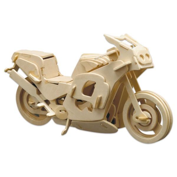 Holzbausatz Renn-Motorrad 27x14cm 86 Teile vorgestanzt, zum Zusammenstecken
