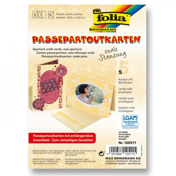 Passepartoutkarten DIN A6 5 St. oval strohgelb inkl. Kuvert&Einlegeblatt, 220g/m²