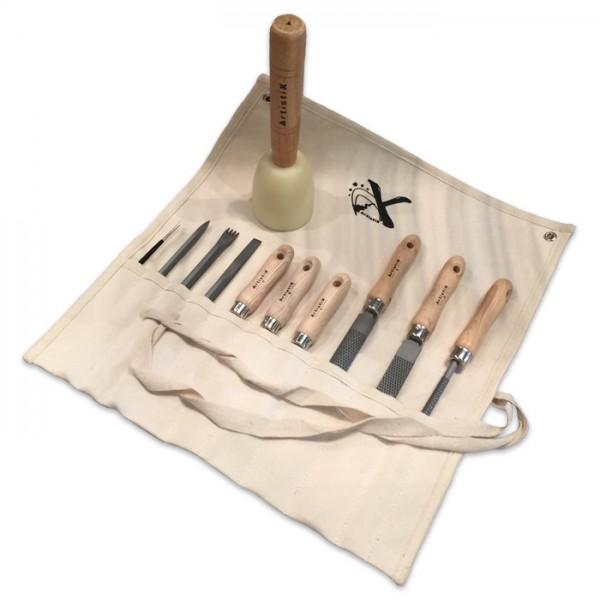 Werkzeugset für Speckstein/Alabaster 12er Set Segeltuchtasche 51x45cm