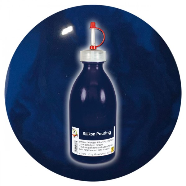 Just4Art Silikon Pouring Farbe 250ml dunkelblau mit Spritzdüse