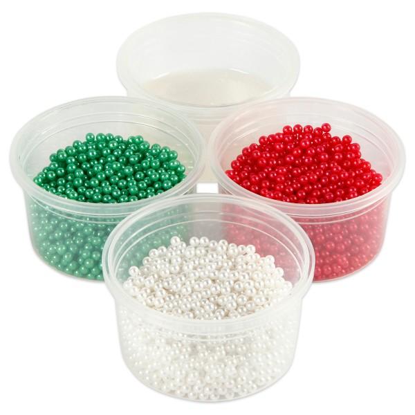 Pearl Clay Perlmuttglanz 3x25g & 1x38g weiß/rot/grün 3 Farben+Modelliermasse