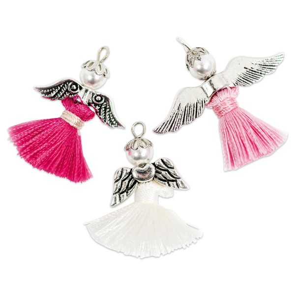 Kreativset Quasten-Schutzengel 3 St. pink/rosa/weiß ca. 3cm, Bastelset, Kunststoff/Textil/Metall