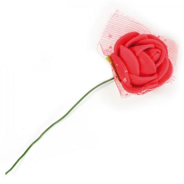 Rosen mit Drahtstiel Ø ca. 22mm 12 St. rot mit Tülldekoration, Moosgummi