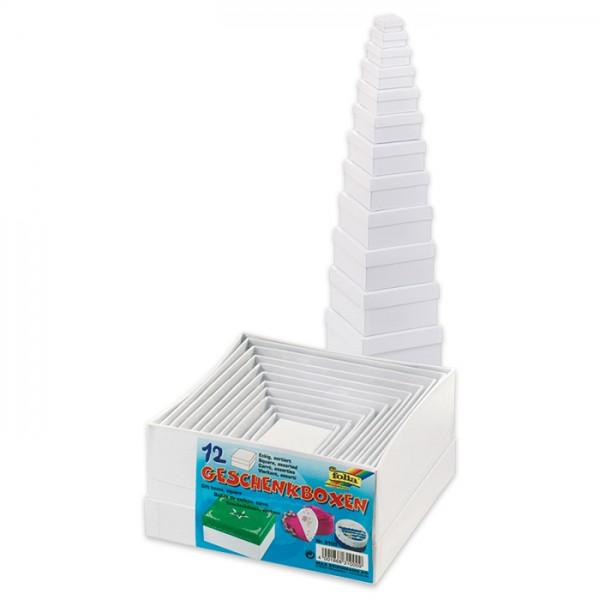 Geschenkboxen Karton 12-teilig Quadrat weiß 3,5x3,5x2cm bis 14,5x14,5x7,5cm