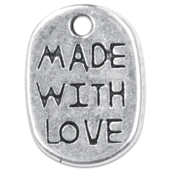 Metallanhänger Made with Love 4 St. altplatinfarben ca. 8x11mm, Lochgröße ca. 1,1mm