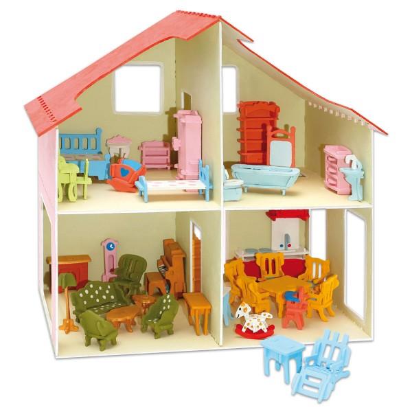 Holzbausatz Puppenhaus mit Möbeln ca. 37x37x23cm, 252 Teile