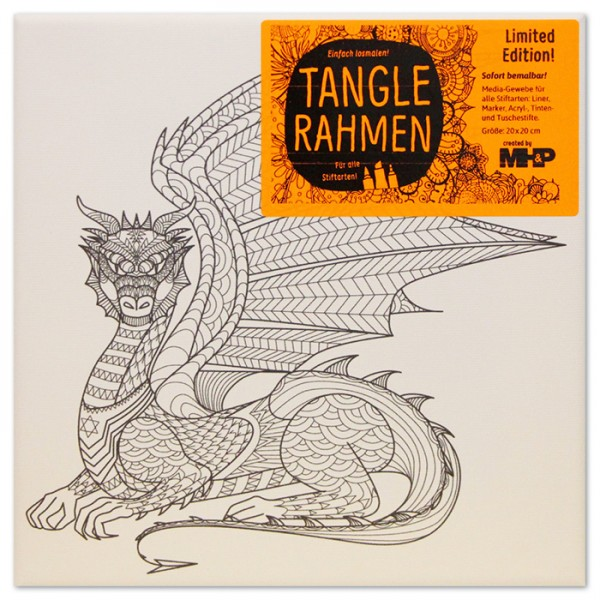 Tangle-Keilrahmen 20x20x2cm Drache