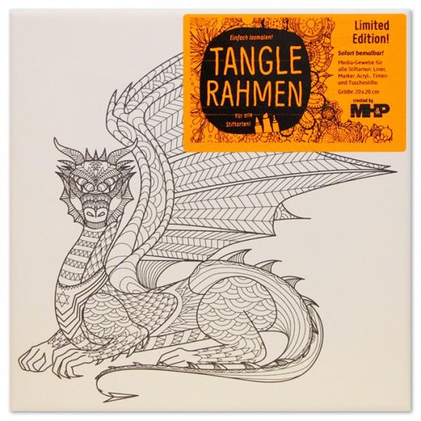 Tangle-Keilrahmen 20x20x2cm Drache