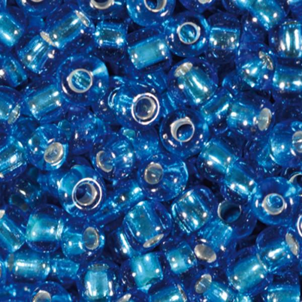 Rocailles transparent 2,6mm 500g safir Silbereinzug, Glas, Loch ca. 0,9mm
