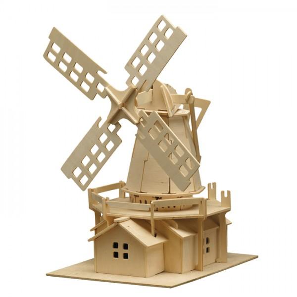 Holzbausatz Windmühle 25x38cm 78 Teile vorgestanzt, zum Zusammenstecken