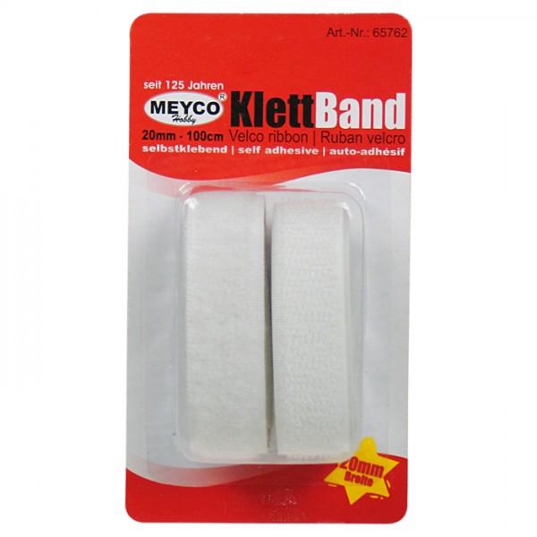 Klettband selbstklebend 20mm 1m weiß