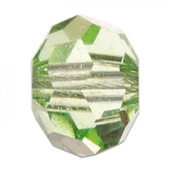 Facettenschliffperlen 10mm 18 St. peridot transparent, feuerpoliert, Glas, Lochgr. ca. 1,5mm