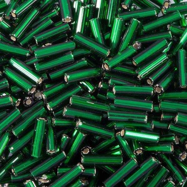Glasstifte transparent 6mm 15g dunkelgrün Silbereinzug, Lochgr. ca. 0,9mm