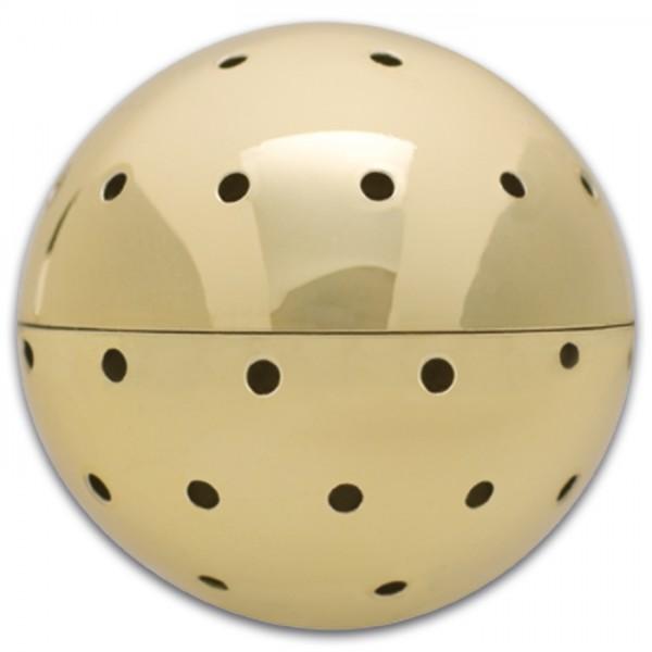 Zauberperle 3D Metall Kugel 27mm goldfarben Nietstifte 30/50/70mm, f. Perlen mit Lochgr. 0,9mm